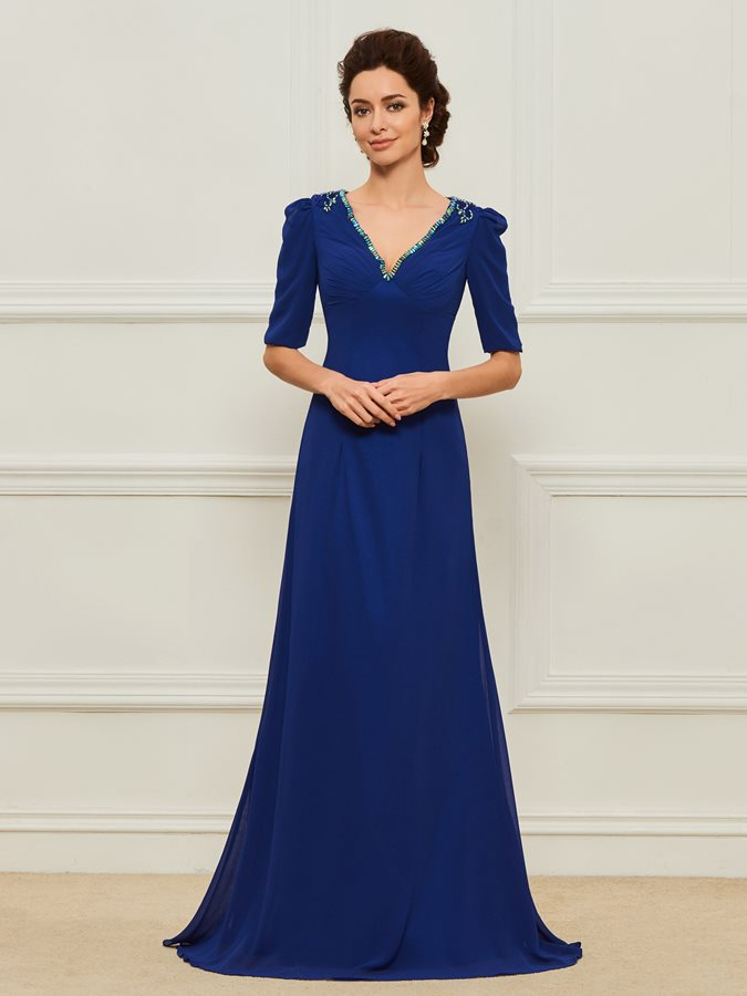 Beaded V-Neck Half Sleeves Mother of the Bride Dress