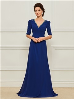 Beaded V-Neck Half Sleeves Mother of the Bride Dress 5