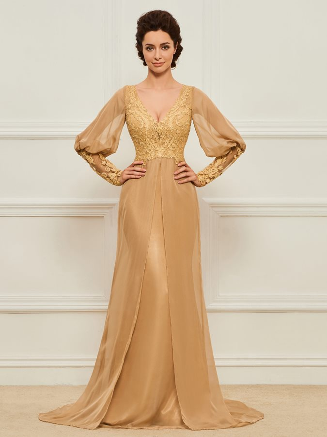 Long Sleeves Appliques Mother of the Bride Dress