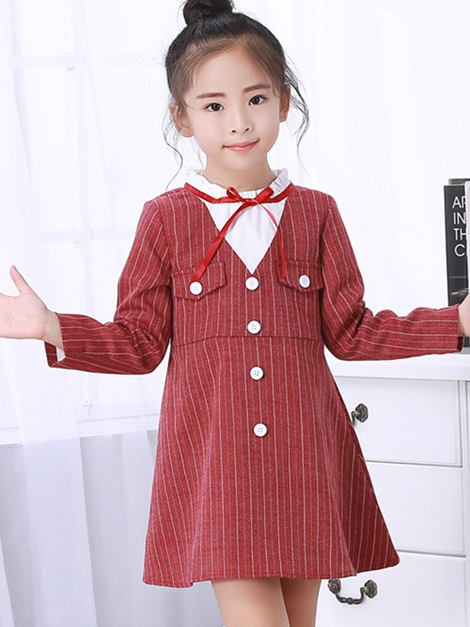 Stripe Stand Collar Bowknot Girl's Dress