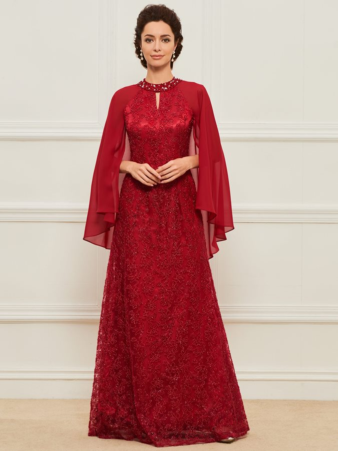 Beaded Jewel Neck Lace Mother Dress