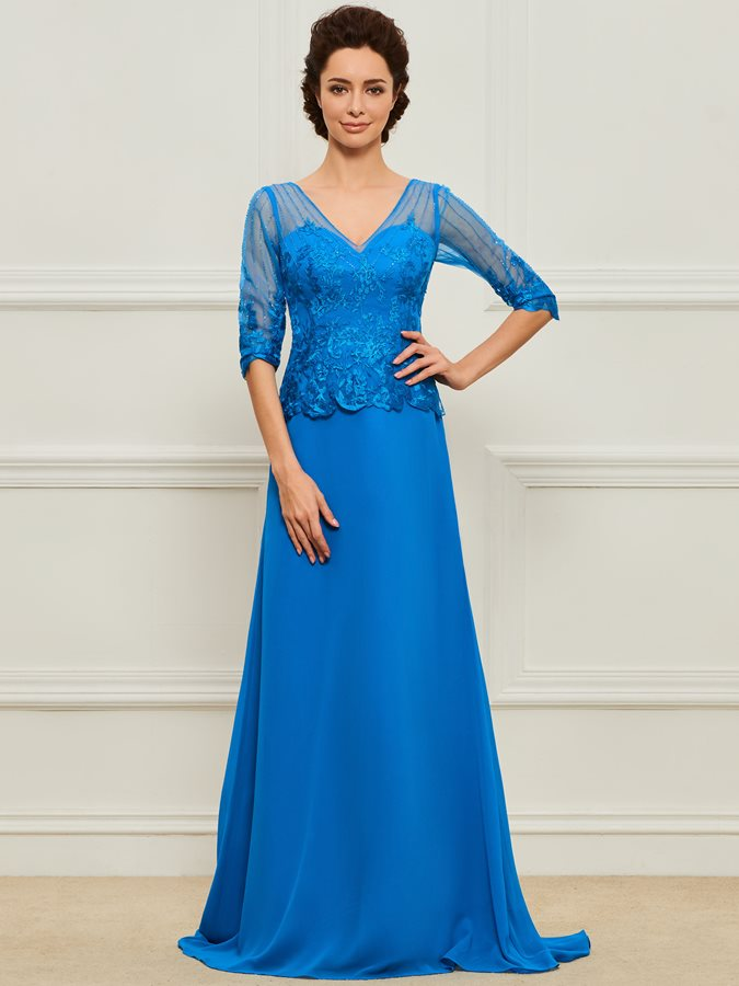 Appliques Beaded Mother of the Bride Dress