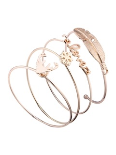 Letters & Feather Design Opening Bangles Sets