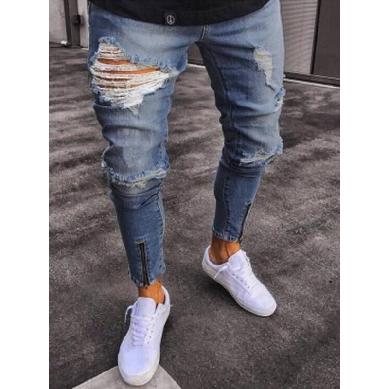 Tidebuy Hole Zipper Fashion Mens Slim Fit Jeans
