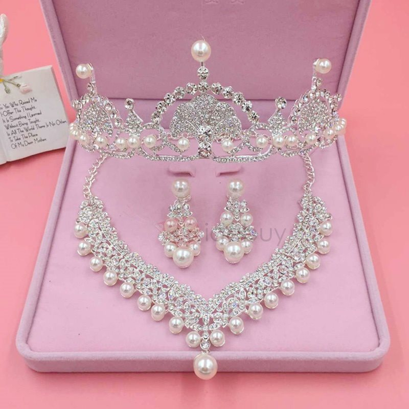 Sweet Pearl Rhinestone Inlaid Three-Piece Wedding Jewelry