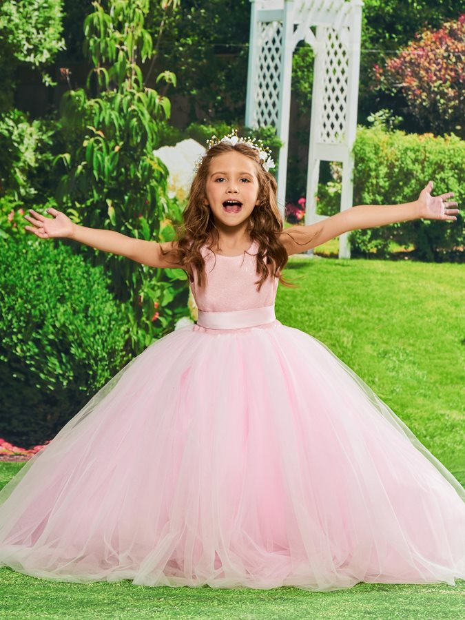 Scoop Neck Sequins Backless Girls Party Dress
