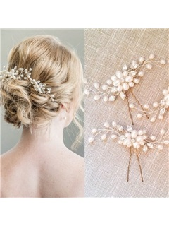 Pearl Decorated Romantic Wedding Hair Stick  3