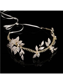 Gold-Zone Leaf with Rhinestone Bride's Wedding Hair Accessories 1