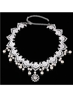 Korean Style Pearl Inlaid Lace Wedding Hair Accessories 1