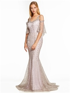 Straps Backless Lace Mermaid Evening Dress 5