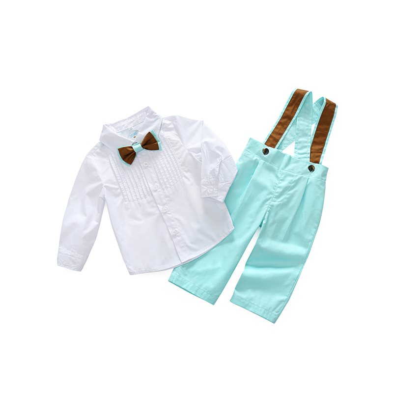 Bowknot Shirt with Overalls Baby Boys Outfit