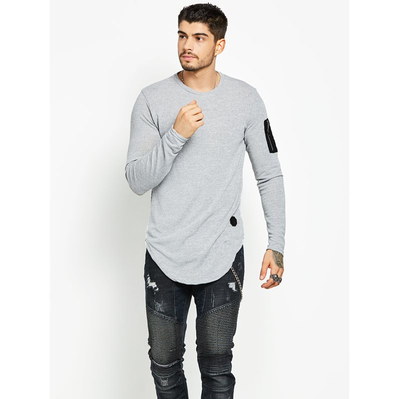Round Neck Patchwork Long Sleeve Plain Mens T-shirt