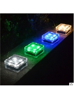 Solar Clear Glass Brick Paver Light with 4 LED Light