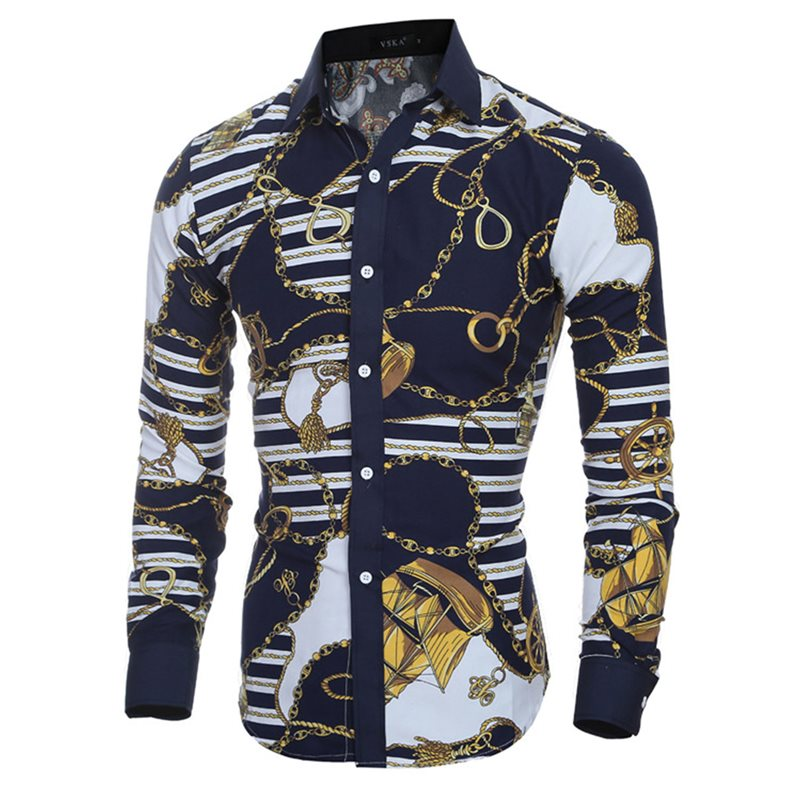 Lapel Vintage Print Slim Mens Long Sleeve Shirt
