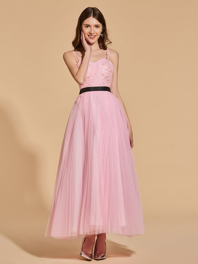 A-Line Sashes Beading Pleats Appliques Prom Dress