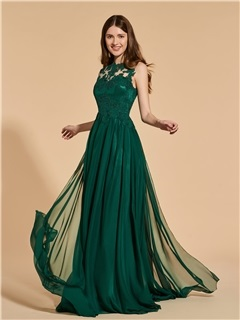 A-Line Button Scoop Lace Prom Dress 2019