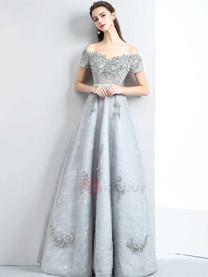 Image of A-Line Lace Appliques Pearls Evening Dress