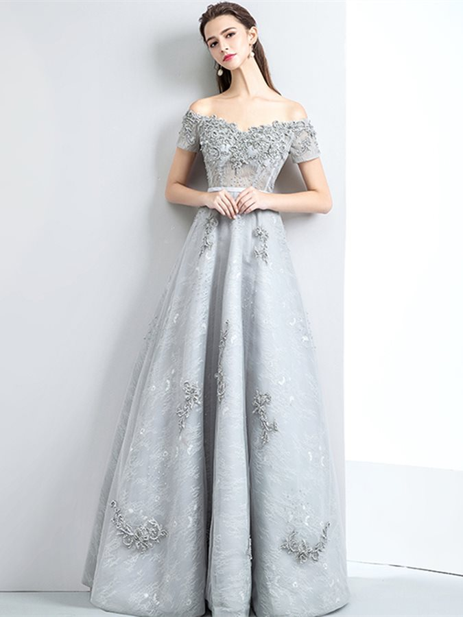 A-Line Lace Appliques Pearls Evening Dress
