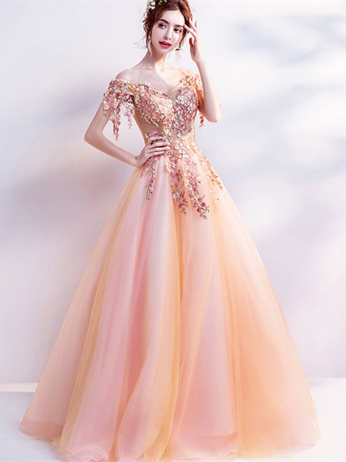 Off-the-Shoulder Pearls Flowers Quinceanera Dress