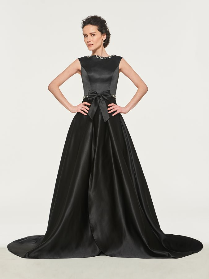 Beaded Bateau Neck A-Line Mother of the Bride Dress