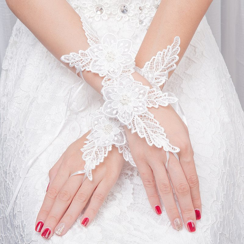 Pearls Lace Fingerless Gloves