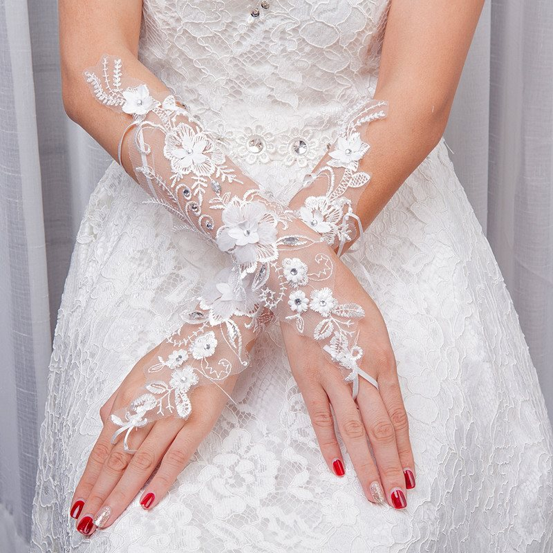 Beading Appliques Fingerless Wedding Gloves