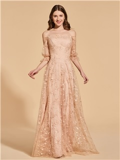 A-Line Empire Off-the-Shoulder Lace Prom Dress