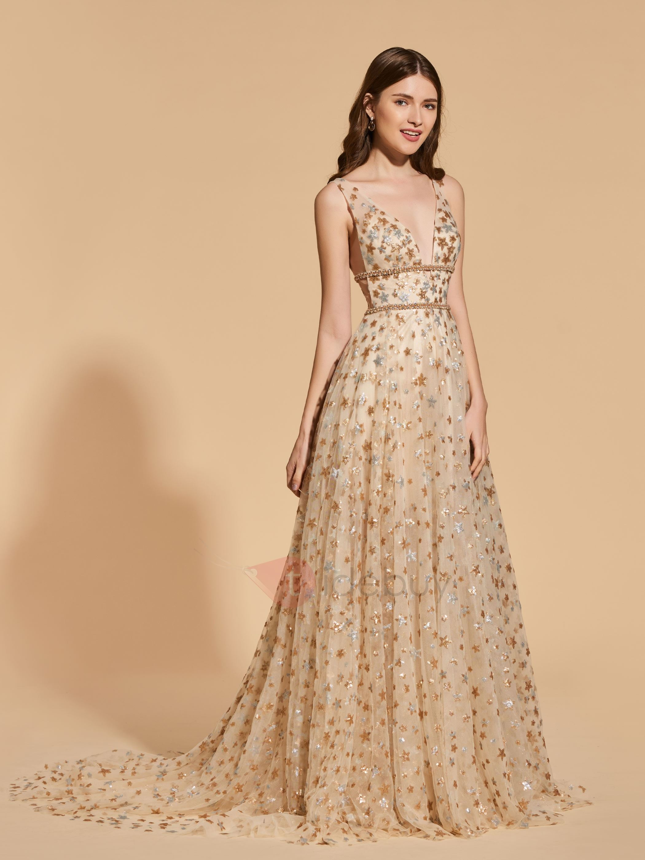 A-Line Beading Empire Lace Prom Dress
