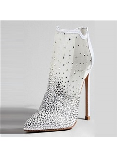 Mesh Back Zip Rhinestone Pointed Toe Women's Boots 8