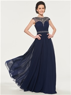 Bateau Neck Beading Mother of the Bride Dress 5
