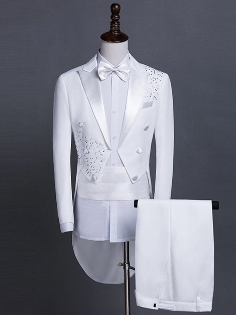 Notched Collar Slim Fit Swallow-Tailed Men's Dress Suit