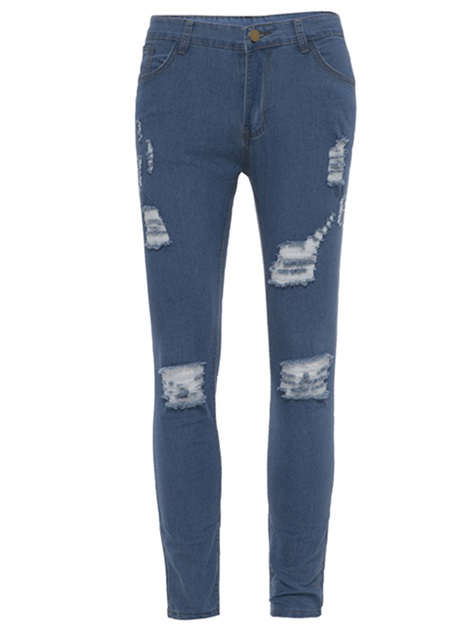 Tidebuy Hole Worn Skinny Men's Ripped Jeans