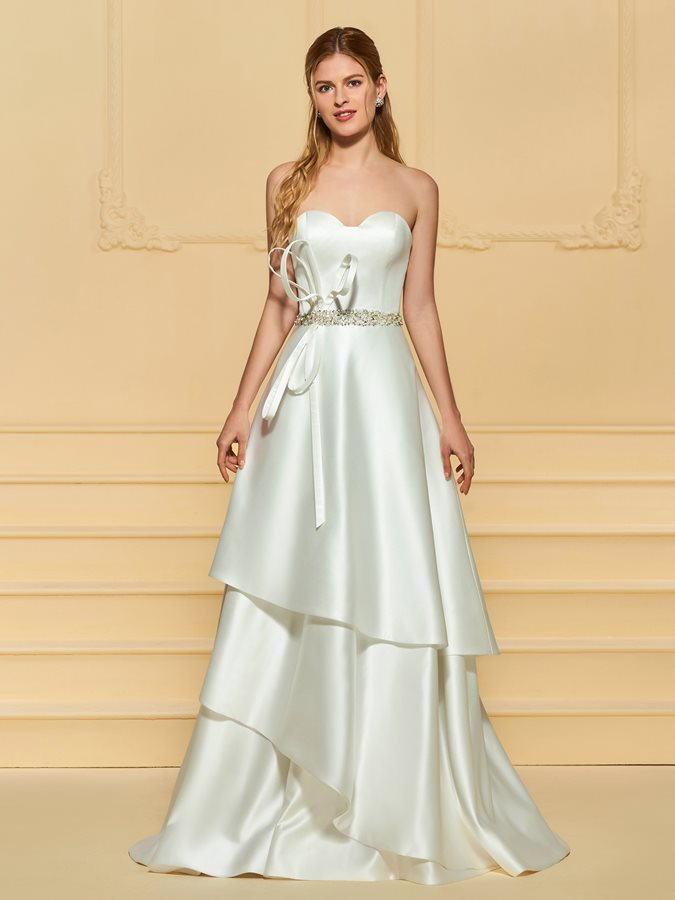Strapless Beading Tiered Wedding Dress
