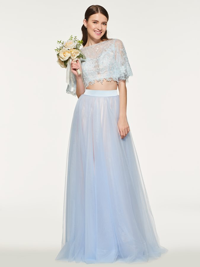 Two Pieces Short Sleeve Lace Bridesmaid Dress