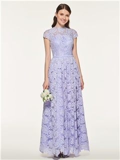 Short Sleeves Ankle-Length Lace Bridesmaid Dress