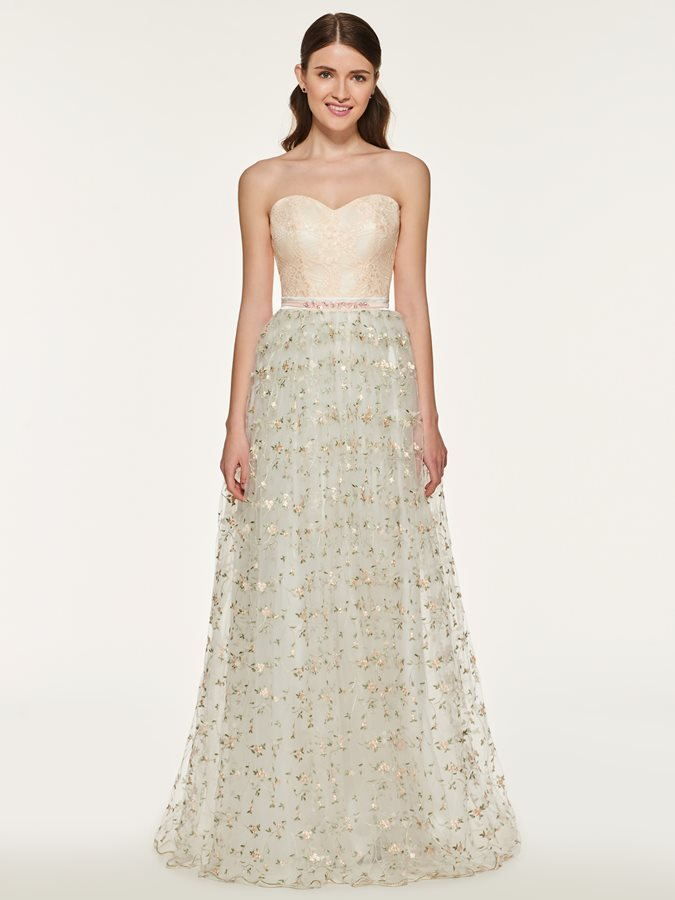 Strapless Embroidery Lace Bridesmaid Dress
