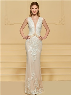 Deep V-Neck Appliques Lace Sheath Wedding Dress 2