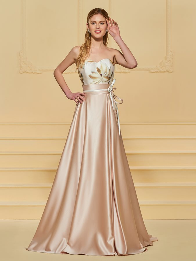 A-Line Printed Sashes Sweetheart Evening Dress