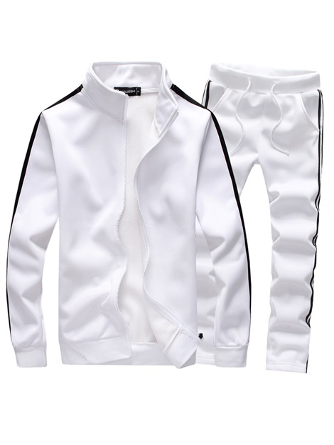 Tidebuy Plain Stand Collar Men's Sports Suit