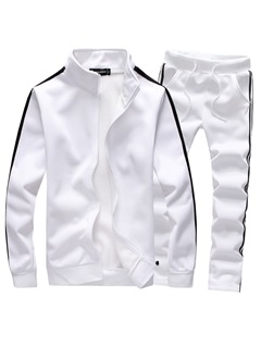 Tidebuy Plain Stand Collar Men's Sports Suit 3