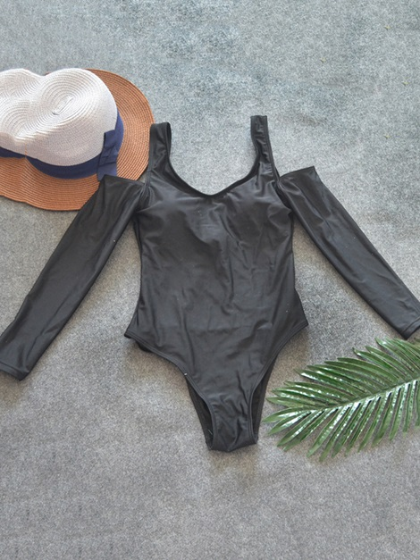 Cold Shoulder Plain V-Neck Long Sleeve Swimsuit Monokini