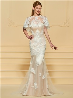 Mermaid Appliques Wedding Dress with Shawl 1