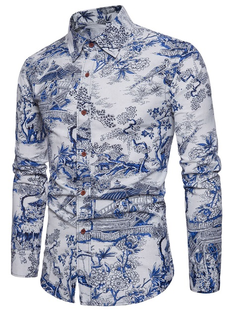 Single-Breasted Print Men's Casual Shirt