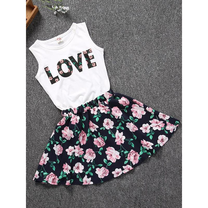 Sleeveless Letter Print Floral Girls Suit
