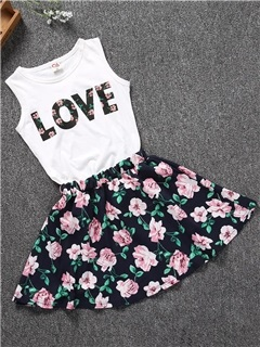 Sleeveless Letter Print Floral Girl's Suit