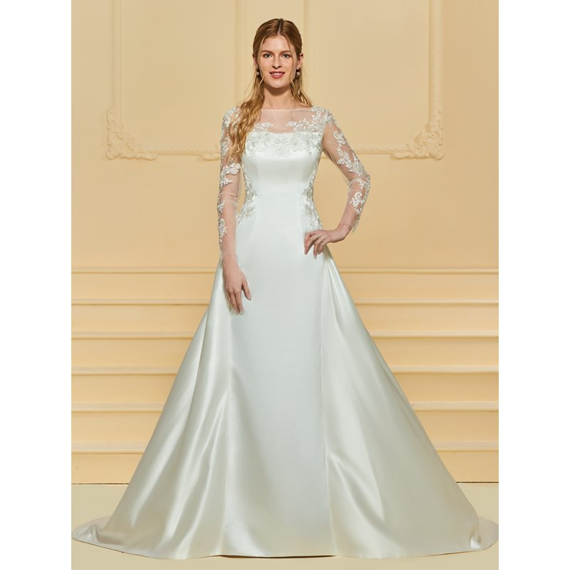 Sheer Button Back Appliques Wedding Dress with Long Sleeve фото