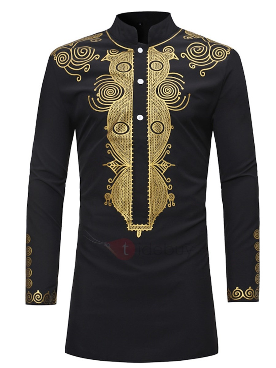 African Dashiki Print Stand Collar Mid-Length Mens Shirt