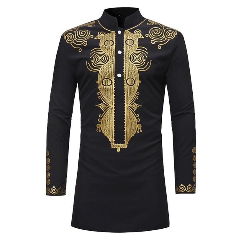 African Fashion Dashiki Print Stand Collar Mid-Length Mens Shirt
