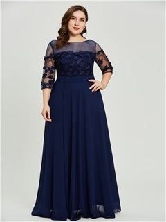 Plus Size Scoop Neck Half Sleeves A Line Prom Dress