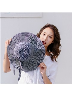 Stripe Color Bowknot Decorated Linen Summer Sun Hat 1